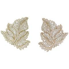 7.44 Carat White Diamonds Leaves Clip-on Earrings