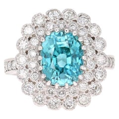 7.45 Carat Blue Zircon Diamond White Gold Engagement Ring