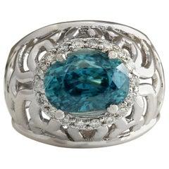 7.45 Carat Natural Zircon 18 Karat White Gold Diamond Ring