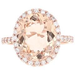 7.45 Carat Oval Cut Morganite Diamond Rose Gold Engagement Ring