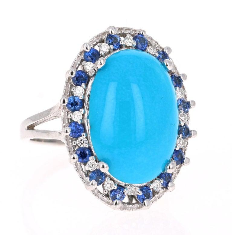Art Deco 7.45 Carat Turquoise Diamond White Gold Cocktail Ring