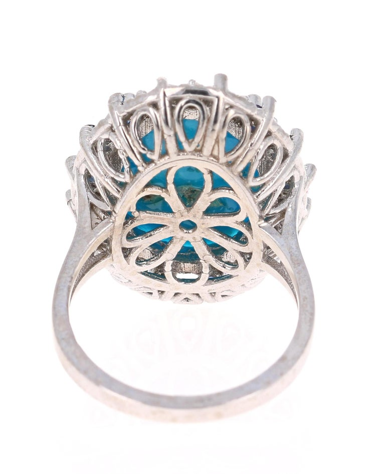 Oval Cut 7.45 Carat Turquoise Diamond White Gold Cocktail Ring