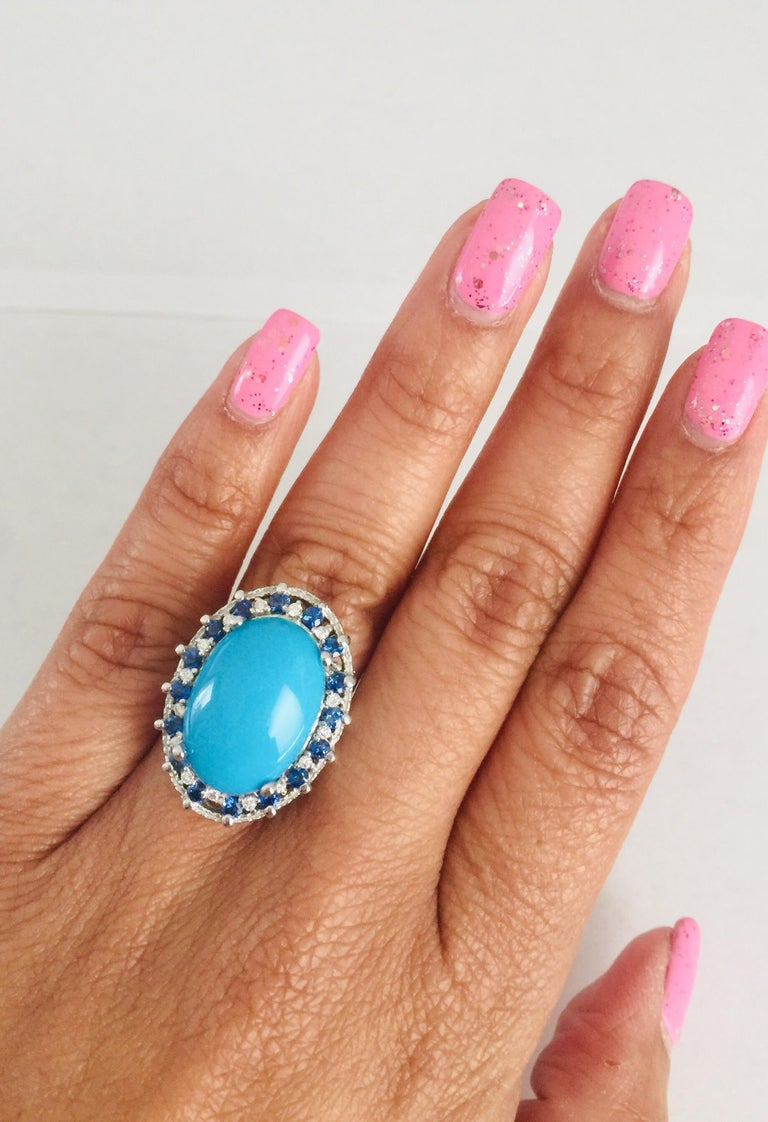 7.45 Carat Turquoise Diamond White Gold Cocktail Ring In New Condition In San Dimas, CA