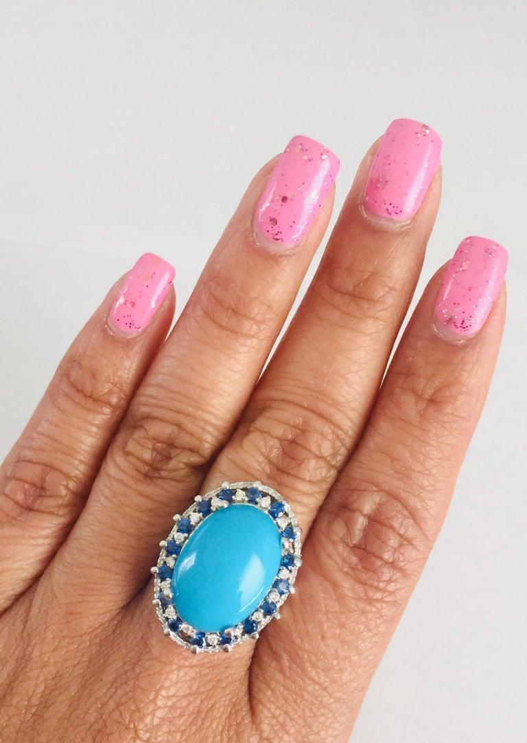 Women's 7.45 Carat Turquoise Diamond White Gold Cocktail Ring