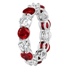 7.46 Carat Ruby and Round Diamond Eternity Band Ring