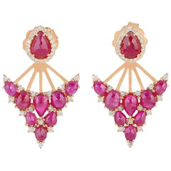 7.46 Carat Ruby Diamond 18 Karat Gold Ear Jacket Earrings