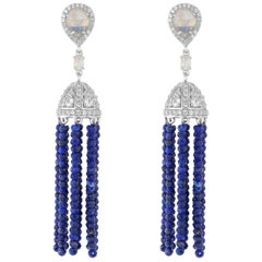 Sterling Silver With Lapis Beads And Rainbow Moonstone Tassel Earrings