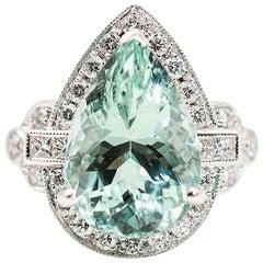 7.47 Carat Bright Blue Green Pear Cut Aquamarine and Diamond 18 Carat Gold Ring