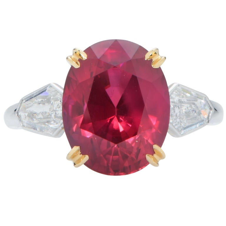 Oval Cut 7.47 Carat GRS Graded No Heat Pigeon's Blood Mozambique Ruby and Diamond Ring For Sale
