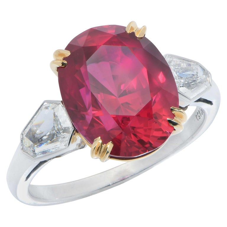 7.47 Carat GRS Graded No Heat Pigeon's Blood Mozambique Ruby and Diamond Ring For Sale