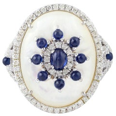 7.47 Carat Mother of Pearl Blue Sapphire Diamond 18 Karat Cocktail Ring