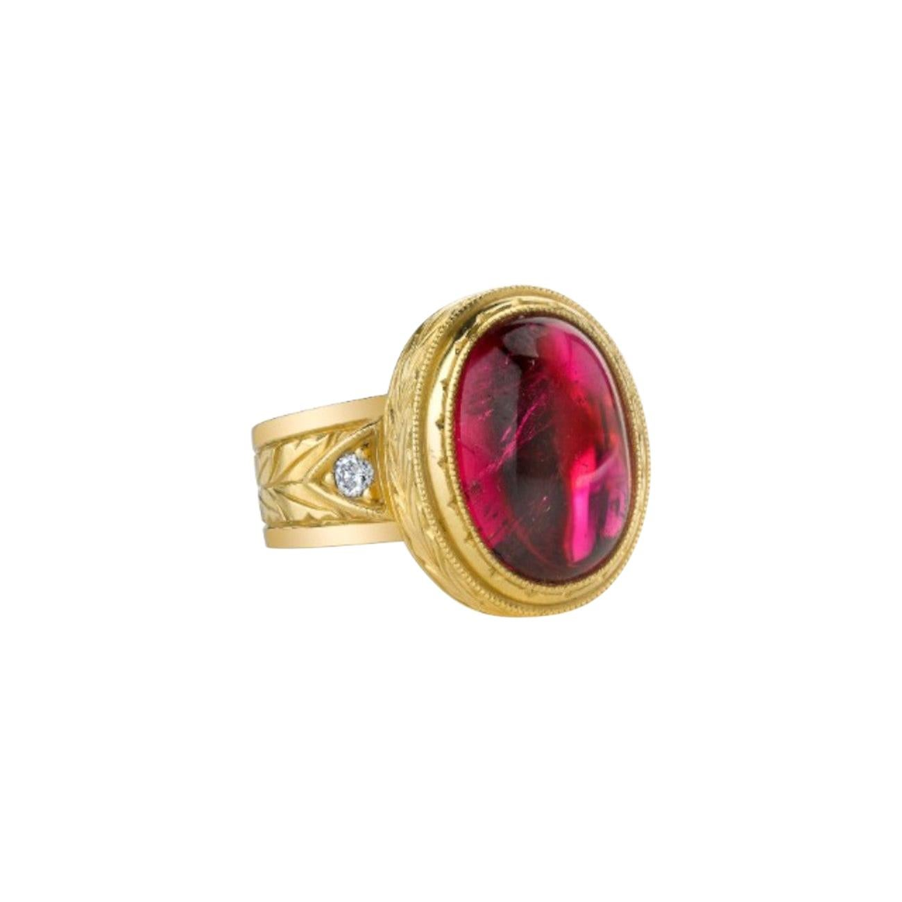 7.47 Carat Rubellite Tourmaline Cabochon Diamond Yellow Gold Dome Band Ring