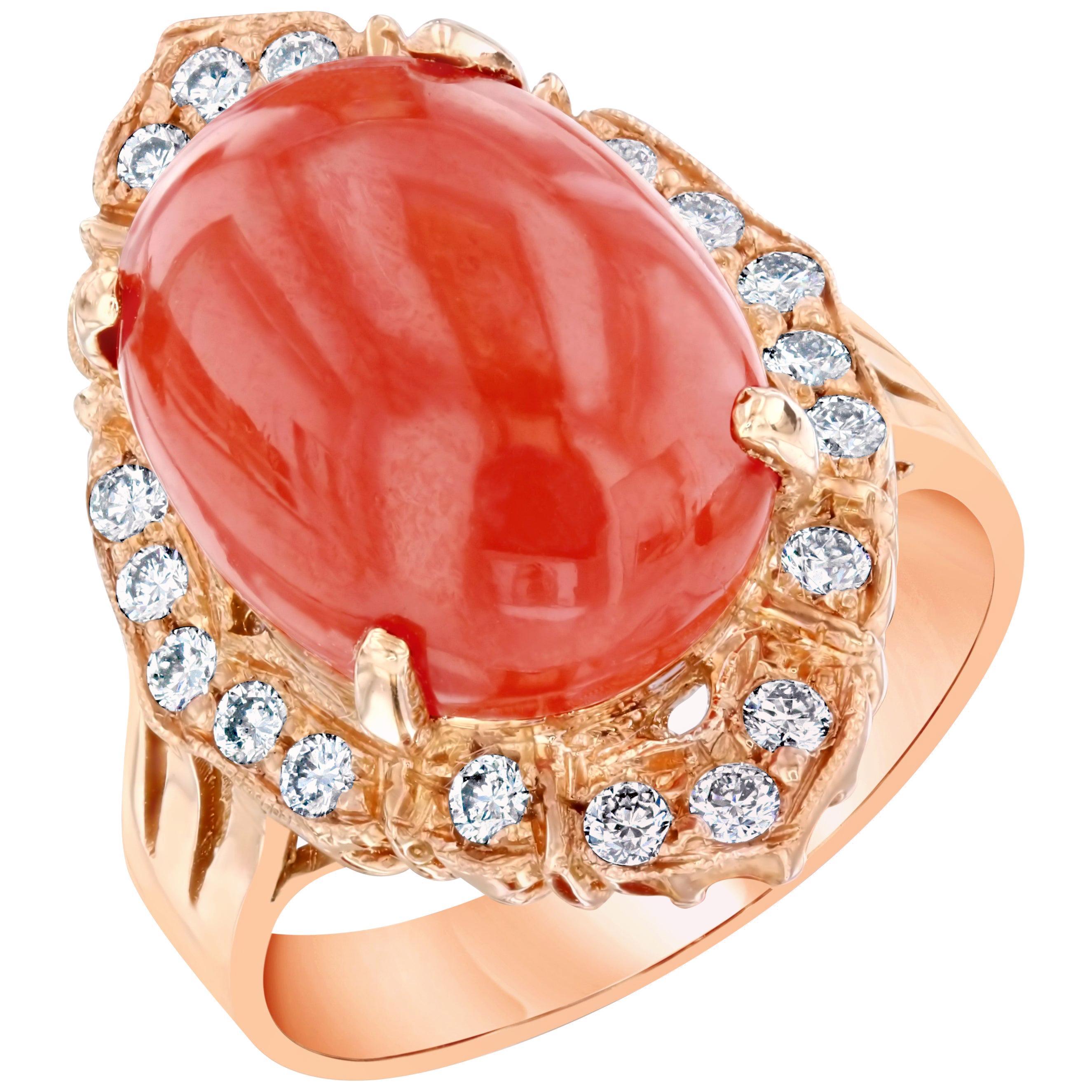 7.48 Carat Coral Diamond 14 Karat Rose Gold Cocktail Ring