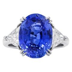 7.48 Carat Sapphire  Diamond Ring