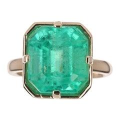 7.48cts 18K Colombian Emerald, Asscher Cut Solitaire Gold Engagement Ring