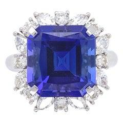 7.49 Carat Asscher Cut Tanzanite and Diamond Platinum Ring Estate Fine Jewelry