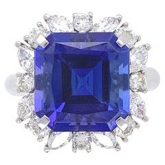 7.49 Carat Asscher Cut Tanzanite Diamond Platinum Ring Estate Fine Jewelry