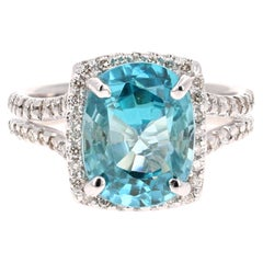 7.49 Carat Blue Zircon Diamond 14 Karat White Gold Ring