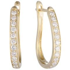.75 Carat 14 Karat Yellow Gold Diamond Oval Hoop Earrings