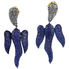 7.5 Carat Blue Sapphire Diamond Earrings