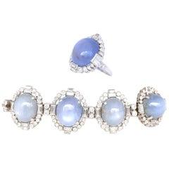 75 Carat Cabochon Star Sapphires Diamonds Platinum Ring Bracelet Set, 1920