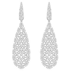 7.5 Carat Diamond 18 Karat White Gold Earrings