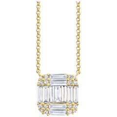 .75 ct. t.w. Baguette, Round Diamond, 18k Yellow Gold Square Pendant Necklace