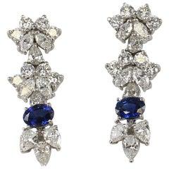 7.5 Carat Diamond and Sapphire Earrings Set in Platinum