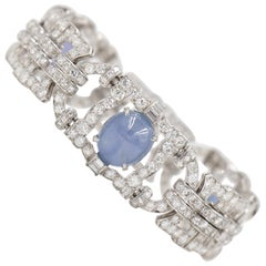 7.5 Carat Diamond and Star Sapphire Art Deco Estate Bracelet in Platinum