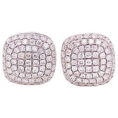 .75 Carat Diamond Pave Cushion Stud Earrings 18 Karat White Gold Diamond Earring