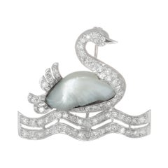 .75 Carat Diamond Peal White Gold Swan Midcentury Brooch
