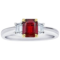 .75 Carat Emerald Cut Natural No Heat Ruby and Diamond Platinum and 18k Ring