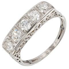 .75 Carat Five-Diamond Filigree Art Deco Platinum Ring