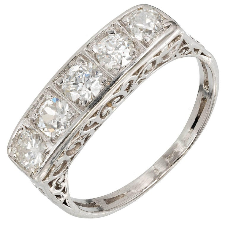 .75 Carat Five-Diamond Filigree Art Deco Platinum Ring
