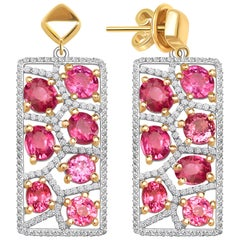 7.5 Carat Hot Pink Mahenge Spinel Diamonds 14 Karat Rose Gold Earrings