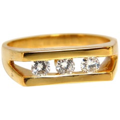 .75 Carat Men's Diamond Ring 14 Karat Channel 3