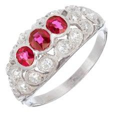 .75 Carat Natural Ruby Diamond Platinum Three-Stone Dome Ring