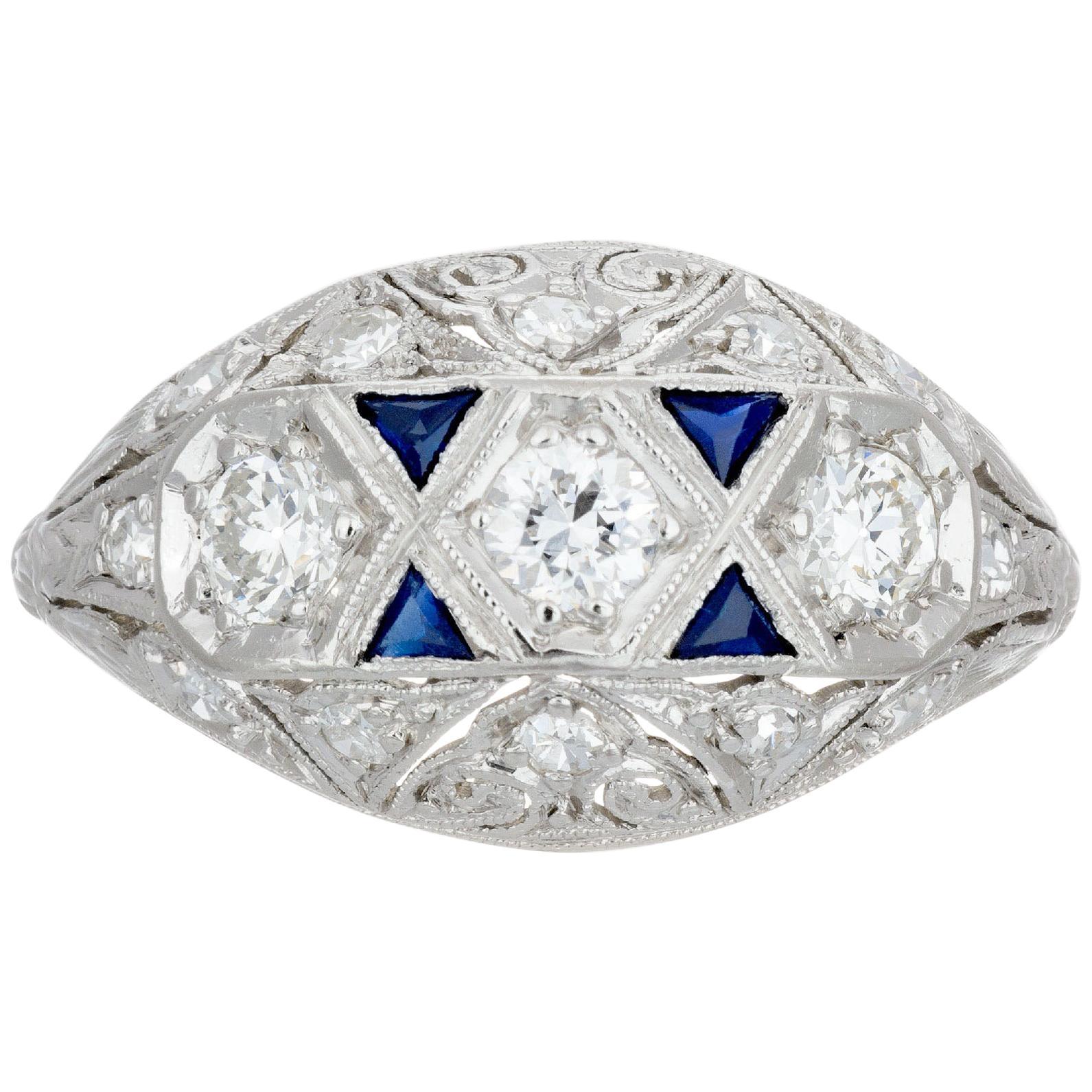 .75 Carat Old European Diamond Sapphire Art Deco Platinum Dome Engagement Ring