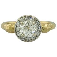 .75 Carat Old European Round Diamond Handmade Engagement Ring in 18 Karat Gold