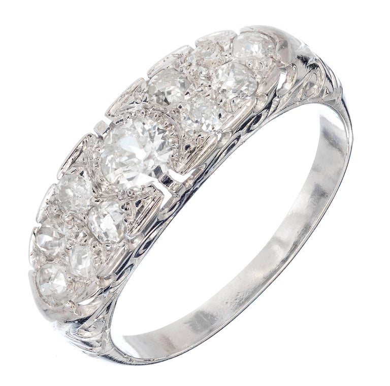 .75 Carat Pave Diamond Platinum Filigree Wedding Band Ring For Sale