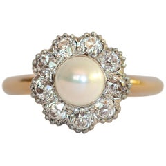 .75 Carat Pearl Yellow Gold and Platinum Ring