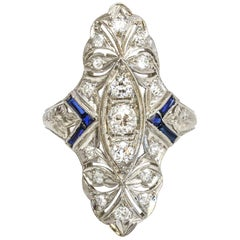 .75 Carat Platinum Diamond Sapphire Art Deco Dinner Ring