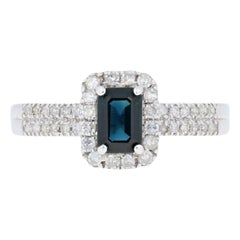 .75 Carat Rectangle Cut Sapphire and Diamond Ring, 18 Karat White Gold Halo