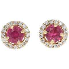 .75 Carat Round Cut Ruby and Diamond Earrings 14k Yellow Gold Pierced Halo Studs