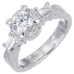 .75 Carat Round Diamond Baguette Halo Platinum Engagement Ring
