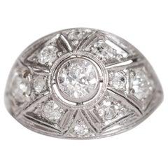 .75 Carat Total Weight Diamond Platinum Engagement Ring
