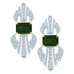 7.5 Carat Tourmaline and Diamond Platinum and Yellow Gold Drop Earrings