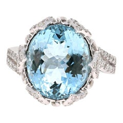 7.50 Carat Aquamarine Diamond 14 Karat White Gold Cocktail Ring