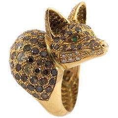 7.50 Carat Brown Diamond Emerald 1.60 Carat White Diamond Yellow Gold Fox Ring