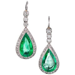 7.50 Carat Colombian Pear Emerald and Diamond Earrings